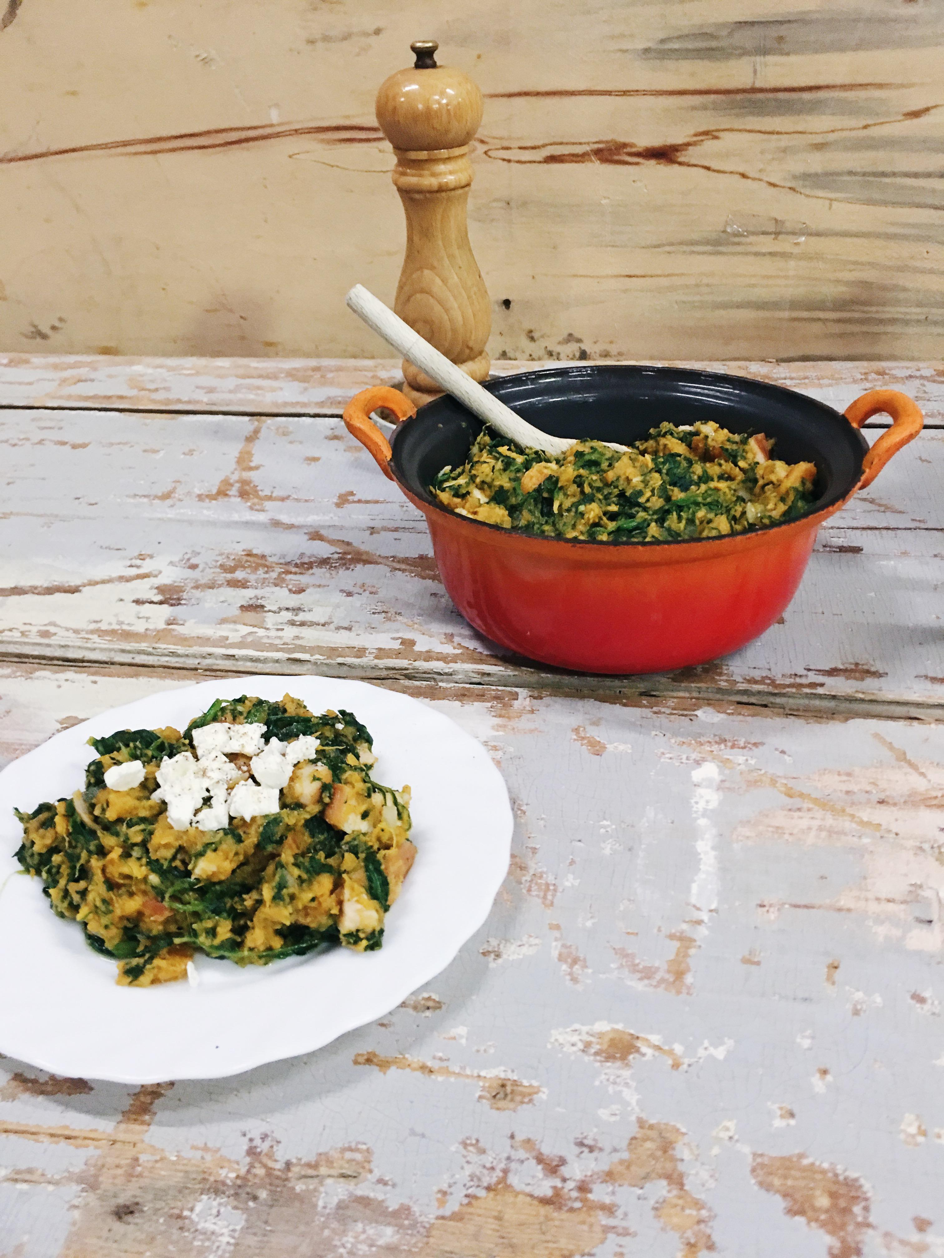 zoete aardappelstamppot-spinazie